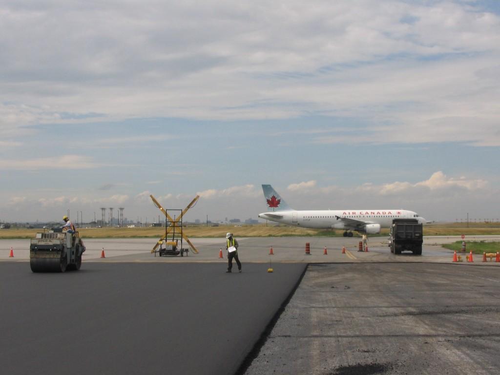 Freshly paved MRT asphalt mix at Pearson International Airport
